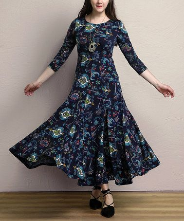 Look what I found on #zulily! Navy Paisley Swing Maxi Dress - Plus #zulilyfinds