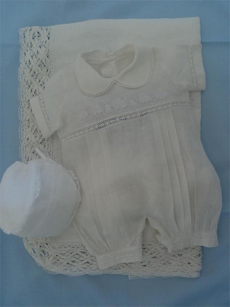 La Canastilla Cubana - Linen Baby Boy 3 pcs Set Train White