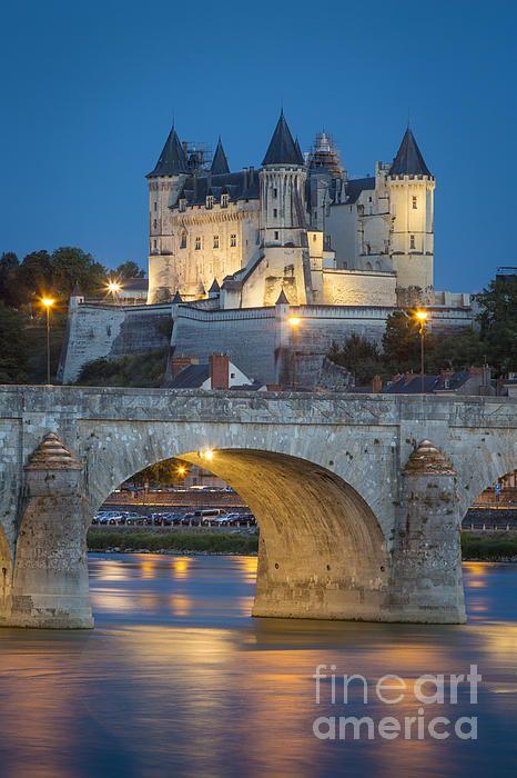 chateau saumur pont cessart and river loire maineet