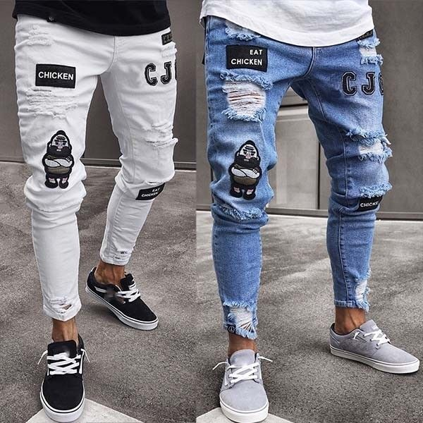 New Summer Mens Fashion Numbers and Letters Print Jeans Male Casual Slim Thin Denim Pants Long Trousers