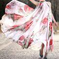 Sommer Blume Gedruckt Kleid Frauen Halter Chiffon Ärmelloses Maxikleider Rot Schwarz Polka Dot Boho Strand Langes Kleid Elegante Partei