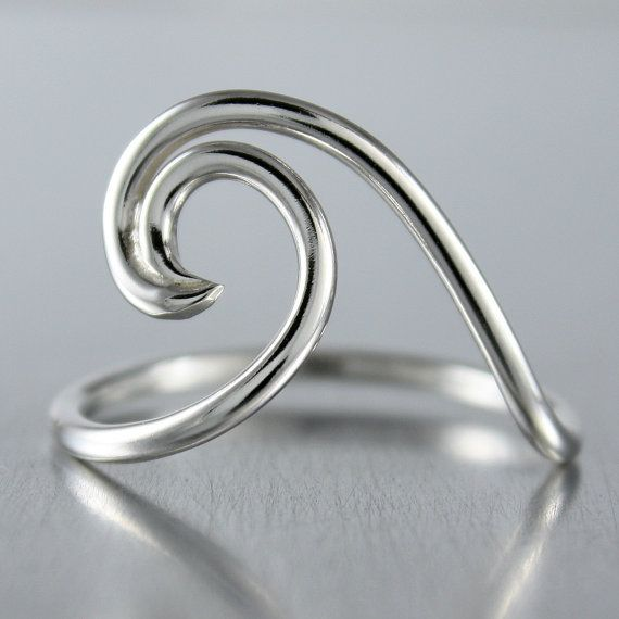 Wave Ring, Surfer or Beach Jewelry, Boho Ring in Shiny Finish