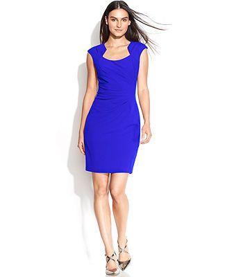 Bright Blue- Calvin Klein Cap-Sleeve Cutout-Neckline Sheath - Dresses - Women - Macy's