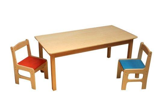 """Mooi ambachtelijk gemaakterechthoekige kindertafel """"Anna"""" van Hollands fabricaat. Deze kinder tafel is gemaakt van zeer degelijk beukenhout afgelakt met duurzame milieuvriendelijke lak op waterbasis. Voor professioneel gebruik. Zeer geschikt voor in uw wachtruimte en/of showroom, kinderdagverblijf, peuterspeelzaal of kleuterschool."""