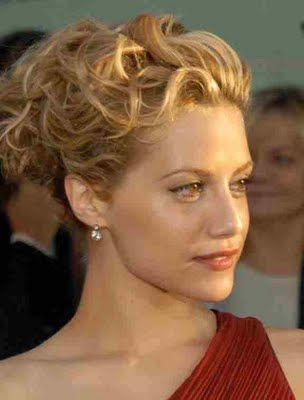 Wedding updo hairstyles for bridesmaids - Wedding Updo - Zimbio: Brittany Murphy, Wedding Hair, Medium Length Hair, Wedding Updo, Updo Hairstyles, Hair Style, Hair Accessories, Curly Hair, Bridesmaid Hairstyles