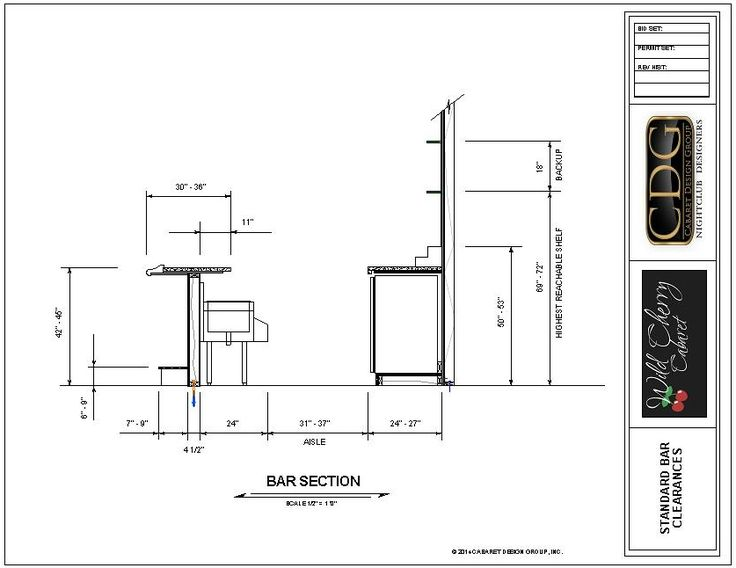 Afc Floor Plan >> Drawing of Standard Ergonomic Bar Clearances | Bar counter design, Bar design restaurant ...