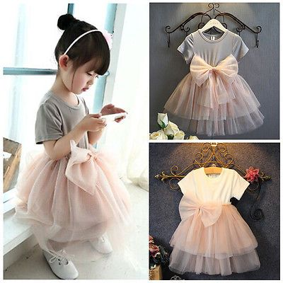 Lovely Baby Girls Sequins Tulle Bow Tutu Gown Formal Party Dresses Clothes 6M-4Y