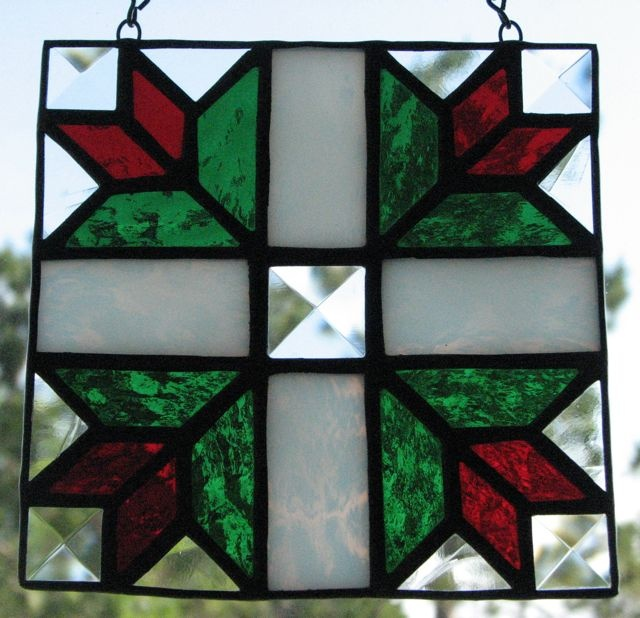 Stained glass tulip quilt square by Barbara's Glassworks.