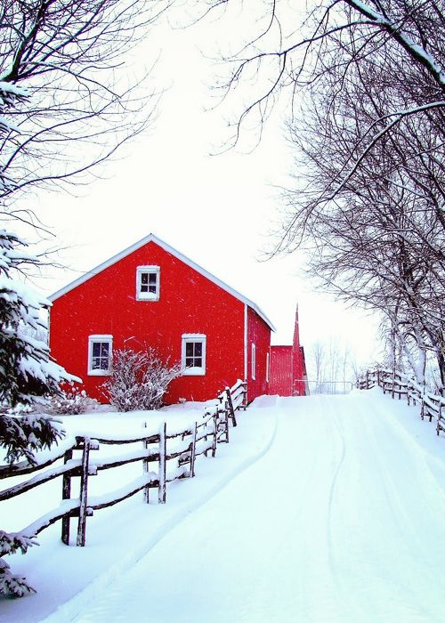 A stark red barn in the snow.
