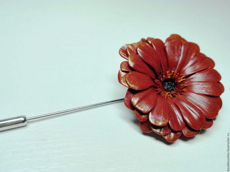 Купить Брошь Гербера из полимерной глины - коричневый, терракотовый, золотистый, брошь с цветами, брошь с цветком