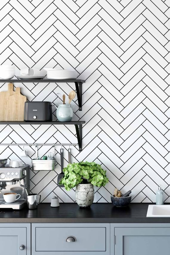 Removable Wallpaper With Herringbone Pattern Black And White Pints Wall Decal Minimalist Herringbone Wallpaper Monochrome Wall Sticker In 2021 Herringbone Wallpaper Black And White Backsplash Removable Wallpaper