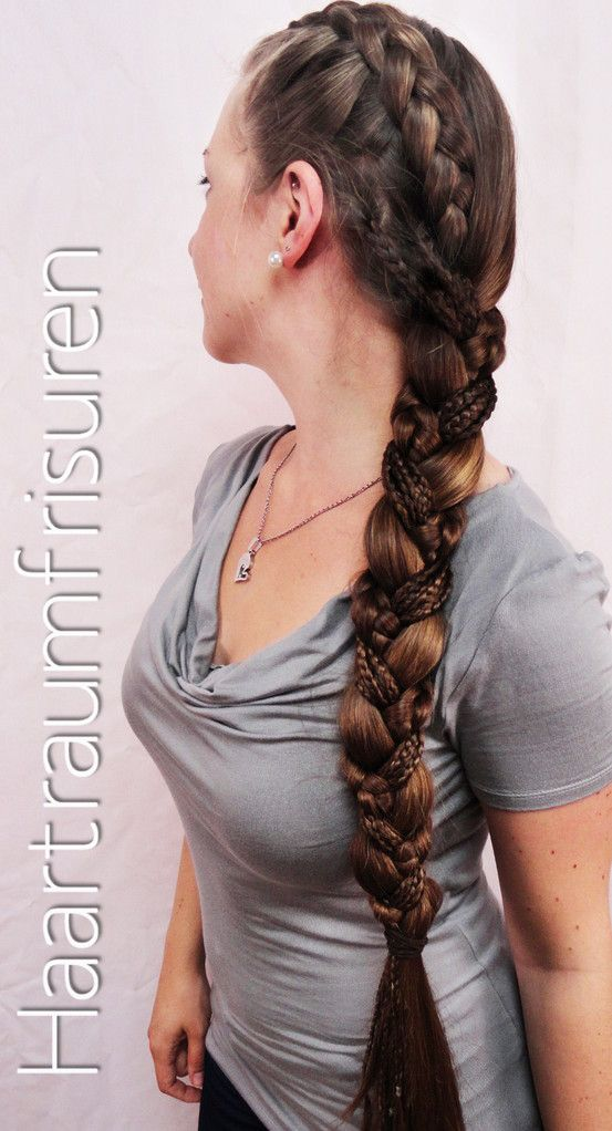 "I need to try this! From Haartraum: ""It's a three strand braid with three different strands. One strand is a dutch braid like in my braid in braid tutorial, the second one is made of seven small accent braids and the last one ist just all the hair that's left. To braid the small braids takes a lot of time, but I wore them for several days and so it was not that bad."""