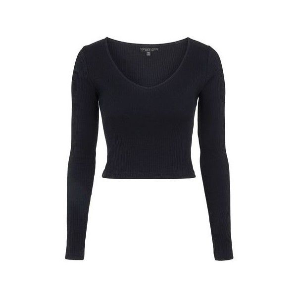 TopShop Petite v-Neck Ribbed Top (30 BRL) ❤ liked on Polyvore featuring tops, crop tops, shirts, topshop, black, petite cotton tops, crop top, long sleeve shirts, long sleeve v neck shirt and long-sleeve shirt