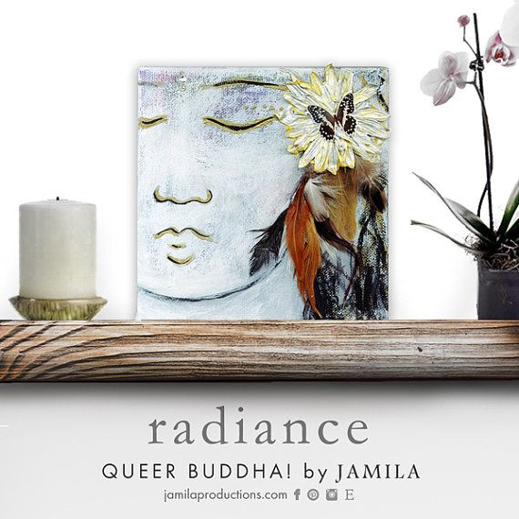 Queer Buddha Radiance ~ channeling the shaman, the winged ones, flying, soaring and bursting with life. Lots of Aquarius energy: ingenuity, brilliance, the imaginable cells of the butterfly who transformed from caterpillar in the cocoon ~ original mixed media by jamilaproductions #design #modern #buddha #meditation #spiritual #fengshui #yoga