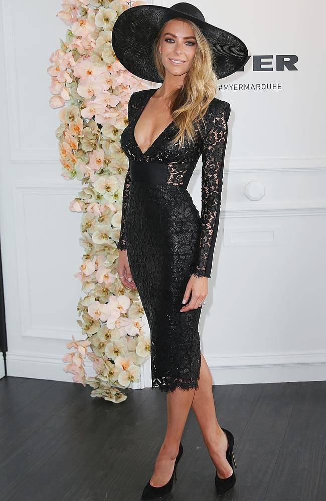 Jennifer Hawkins looking simply stunning in a beautiful, black dress from Myer at the Derby Day races.
