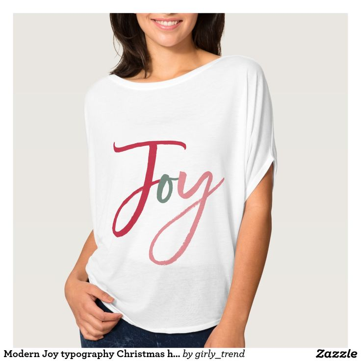 Modern Joy typography Christmas holiday red green T-Shirt