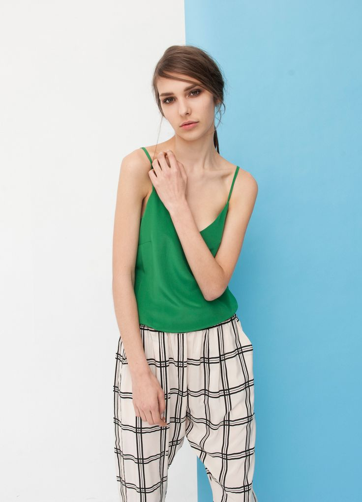+ Dolly Camisole - Green + Sidewalk Silk Pants, Cream Grid