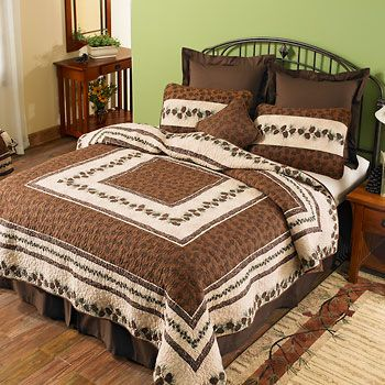 PINE BEND BEDDING | Wild Wings  ~  Pinecones around every bend! With intricate all-over stitching, this appealing whole-cloth quilt brings forest-fresh beauty to your bedroom