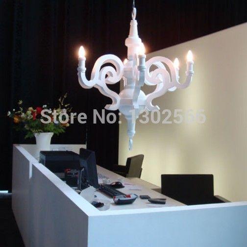 Promotie d550mm witte/moooi zwart papier glans houten kroonluchter hanglamp, 5 lampen e14 lampen verlichting gebruik binnenshuis, dhl snelle