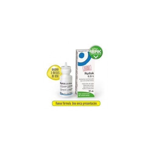 Hyabak es una solución hipotónica para ser administrada a nivel ocular o en las lentes de contacto. http://plazafarma.com/hyabak-0-15-solucion-hidratante-lentes-de-contacto-10-ml.html