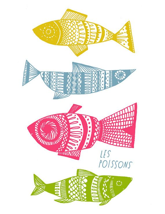 Les Poissons Print by Lisa Congdon