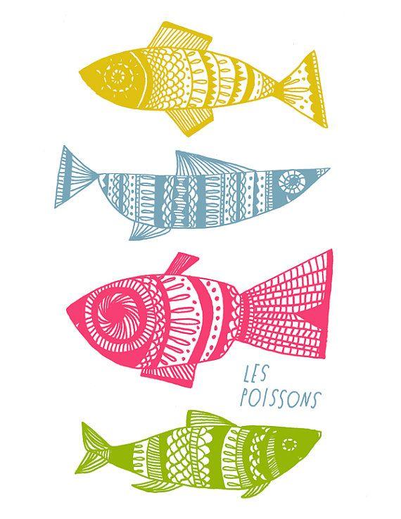 Archiv des poissons à motifs, avec les mots « Les Poissons » (qui signifie poisson en Français), main. 11 x 14 pouces. Signé et daté.  Pleine