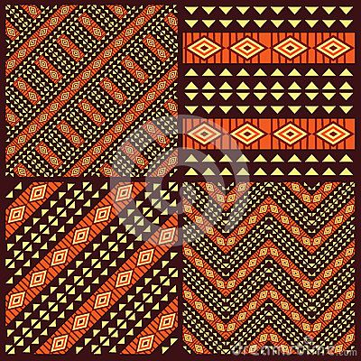 Set of tribal african seamless patterns by Irmairma, via Dreamstime