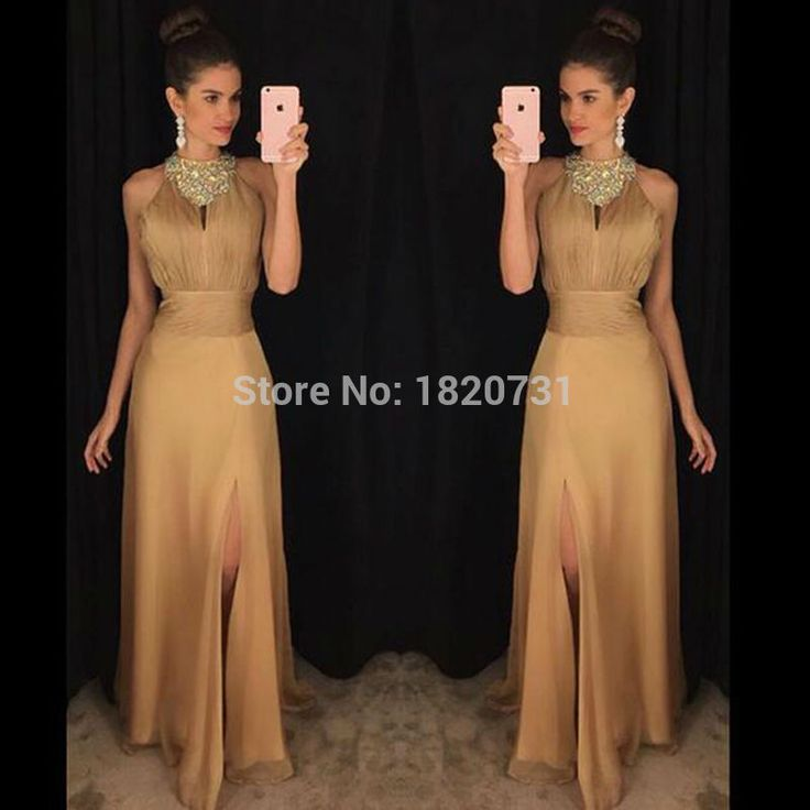 Sexy Chiffon Long Gold Evening Dresses Sexy Slit Sleeveless High Neck A Line Party Prom Gown Formal Dress