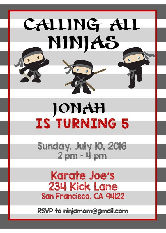 This ninja invitation goes perfect with your ninja birthday party!   Ninja Birthday Party Ideas, Ninja Birthday Party Invitations, Ninja Birthday Invitations, Ninja Invitations, Ninja Birthday Party Decorations, Ninja Birthday Invites