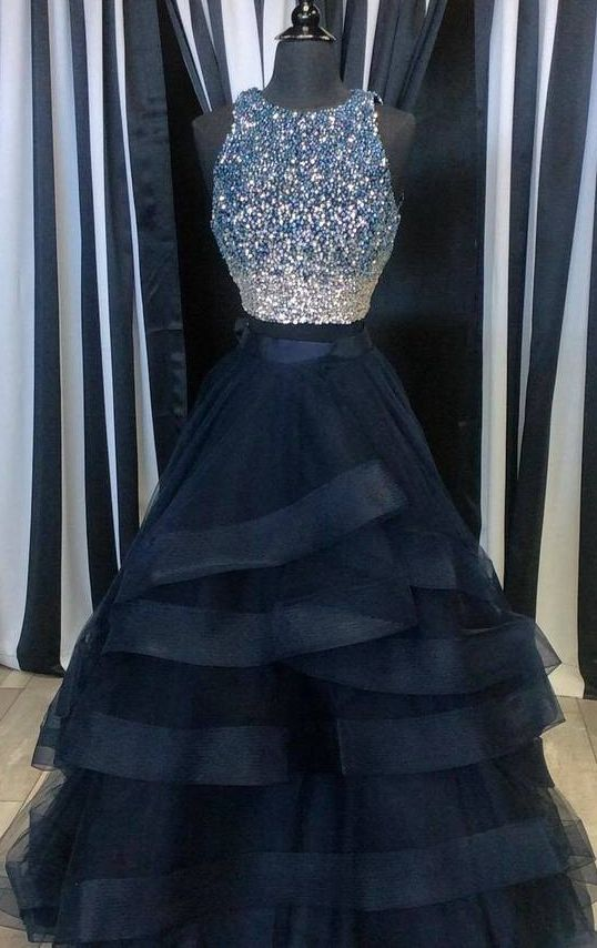 Popular Two Pieces Beaded Tulle Prom Dress, Ball