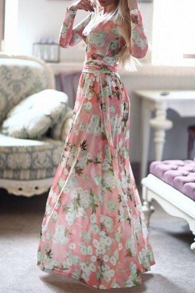 Long Sleeve Full Floral Maxi Dress PINK: Print Dresses | ZAFUL