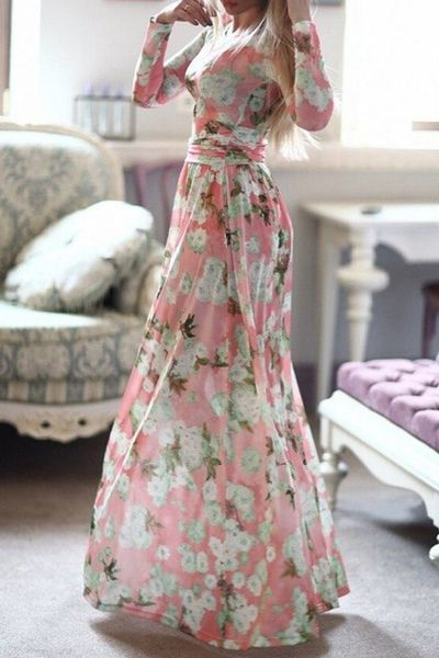 Long Sleeve Full Floral Maxi Dress PINK: Print Dresses | ZAFUL
