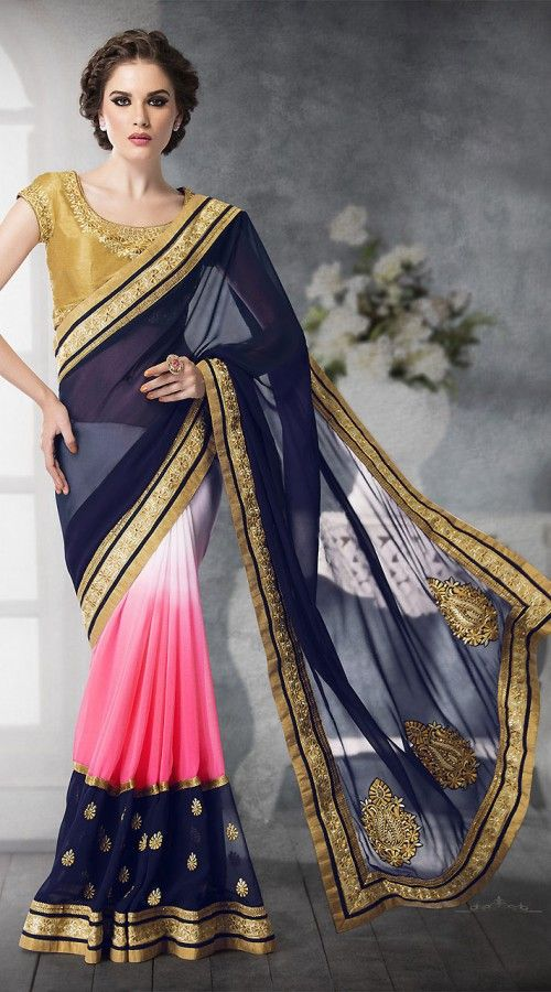 Amazing Pink And Blue Faux Georgette Beautiful Saree With Golden Blouse 2YS410869 Good-looking pink and blue faux georgette and chiffon half and half saree which is imposingly made with stone, zari, resham, embroidery and lace work. This attire comes with contrast golden embroidered blouse piece. The blouse of this saree can be stitched in the maximum bust size of 42 inches.