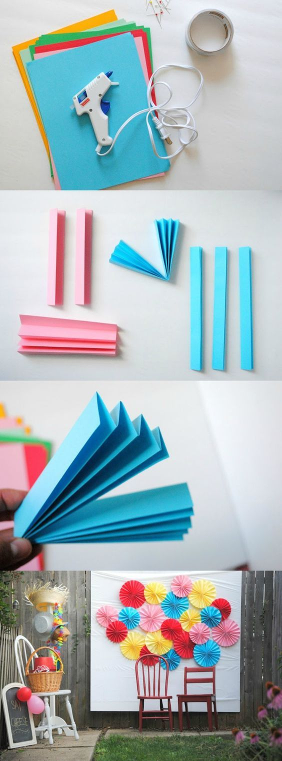 This is how I made the photo booth backdrop for our backyard movie night last week. It's simple, plus I love how it turned out and the pretty colors!: