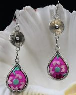 Tribal exotic chinese minority people's old hand embroidery miao silver earring