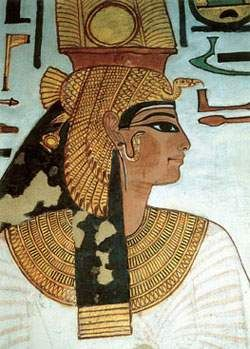Ancient Egyptian wall painting from the Nefertari's tomb - portrait of Nefertari - ancient beauty