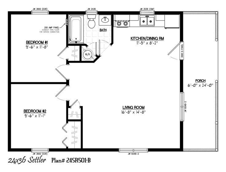 24 X 36 Including 6 Porch In 2019 Cabin Floor Plans