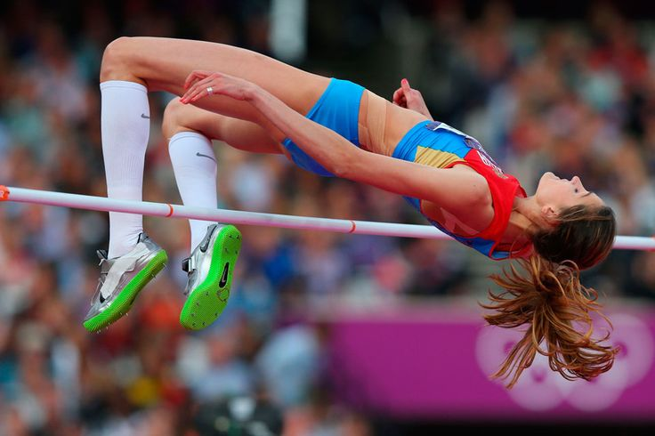 London 2012 - Anna Chicherova of Russia shows the form which carries her to the gold medal in women's high jump competition at Olympic Stadium on August 11, 2012.