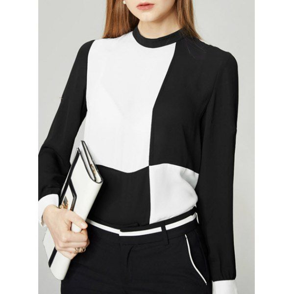 Trendy Long Sleeve Round Neck Hit Color Chiffon Blouse For Women
