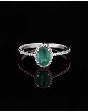 Δαχτυλίδι γάμου λευκόχρυσο με Σμαράγδι & Διαμάντια