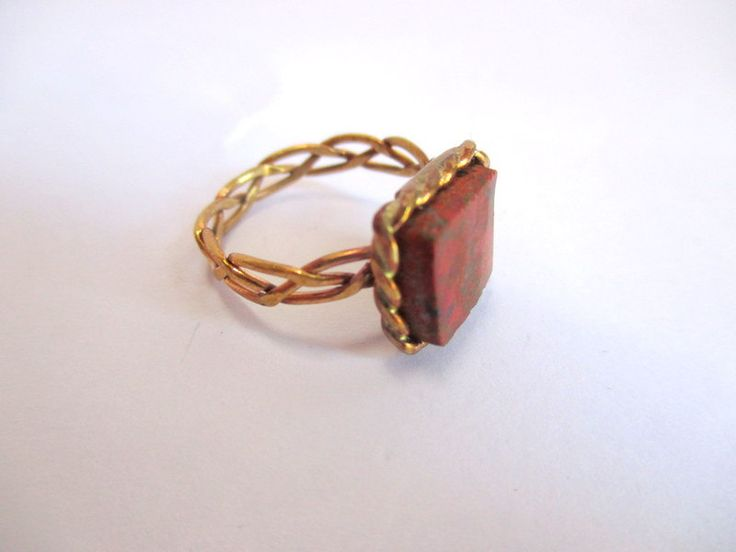 Brass pleated wire & Cuprite ring by Picossa on Etsy