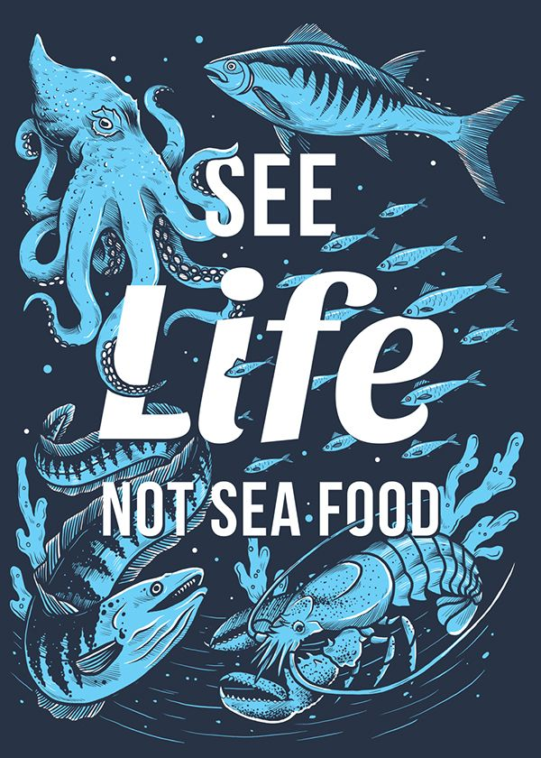 """Another contribution to the wonderful vegan clothing brand Compassion Company. This is a depiction of different sea animals with the text """"See life, not sea food"""" in the middle. White and light blue colors printed on a navy blue t-shirt."""
