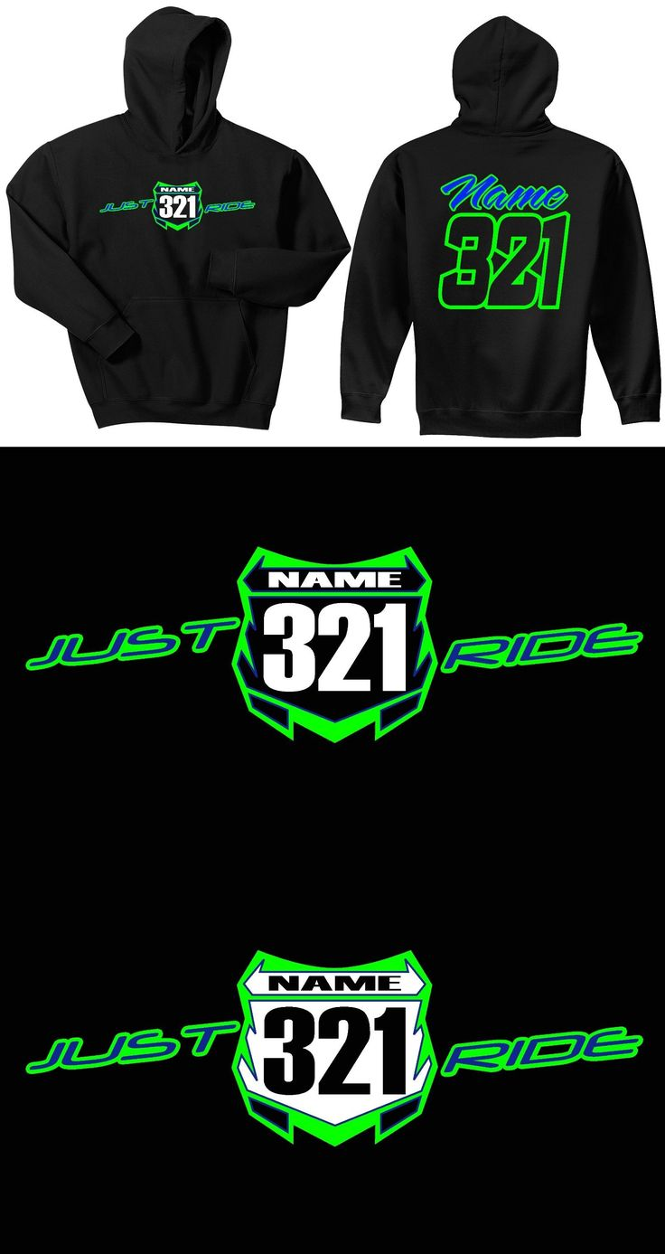 Sweatshirts and Hoodies 155200: Just Ride Custom Number Plate Hoodie Sweat Shirt Youth Mx Motocross Kx Kawasaki -> BUY IT NOW ONLY: $52.99 on eBay!