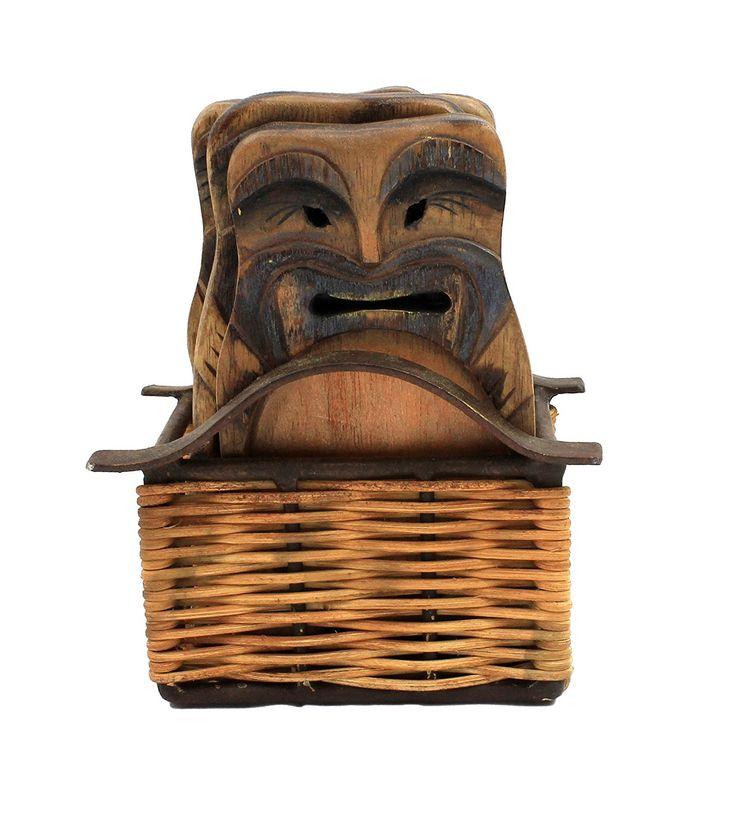 Set of 4 Tiki Coasters with Tiki Basket Holder - $21.95 ea. was $27.95 #tiki #tikibar #coaster #drinkcoasters #tropical #decor
