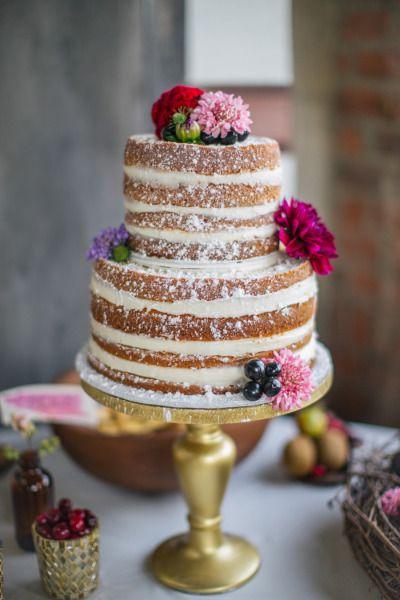 Naked wedding cake with powdered sugar: http://www.stylemepretty.com/texas-weddings/2014/01/02/fall-wedding-inspiration-at-praetorian/   Photography: Rachel Whyte - http://rachel-whyte.com/