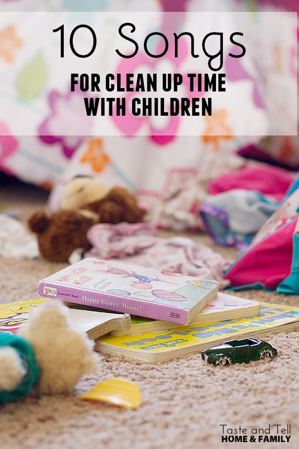 10 Songs for Cleaning Up with Children on Taste and Tell written by a mom for home, but could also use at preschool!