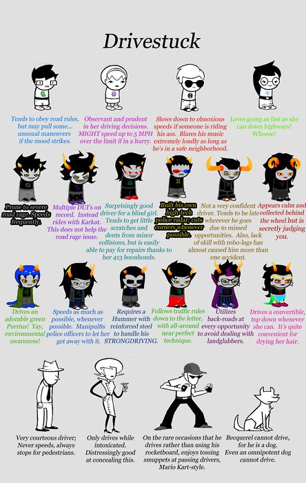 The driving habits of all major Homestuck characters... Bec's and Gamzee's tho