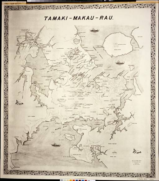 1940. Auckland War Memorial Museum - Kelly,-Leslie-George,-1906-1959-Tamaki-Makau-Rau-:-map-of-the-Tamaki-isthmus-with-Maori-place-names. Map of Waitemata Harbour including Rangitoto and Manukau Harbour showing Maori place names. Auckland War Memorial Museum - G9083.A82.