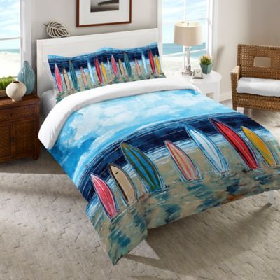 Featuring A Gorgeous Beach Scene With Colorful Surfboards Standing In The  Sand, The Bright And Fun Bedding Is The Perfect ...