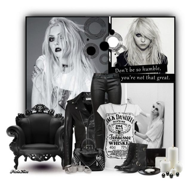 """Taylor Momsen"" by pixiekiss ❤ liked on Polyvore featuring Dash & Albert, Magis, Yves Saint Laurent, T By Alexander Wang, Sole Society, Kenneth Cole, MICHAEL Michael Kors, Wet Seal and MANGO"